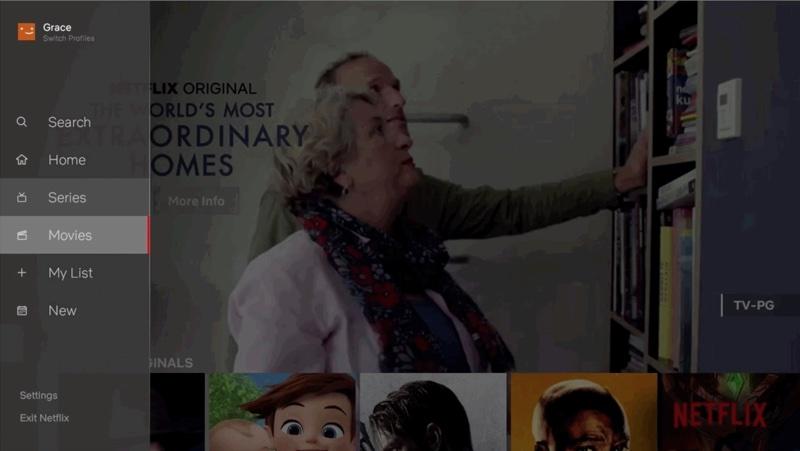 Nowe menu boczne w aplikacji Netflix na TV