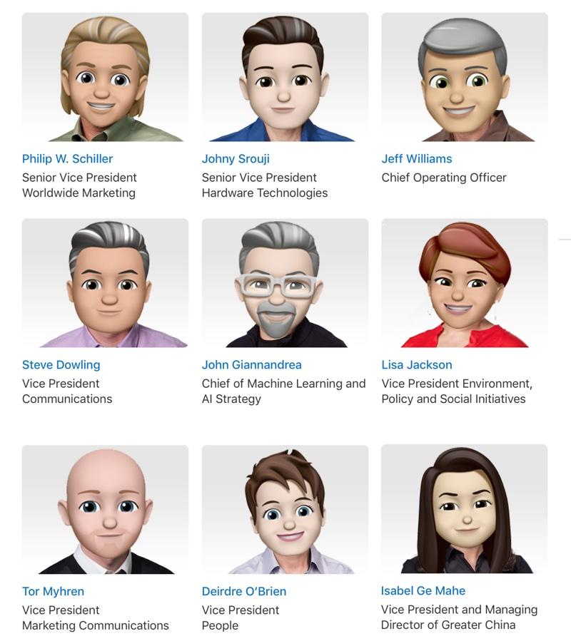 Członkowie zarządu Apple (cd.) w Memoji (2018)