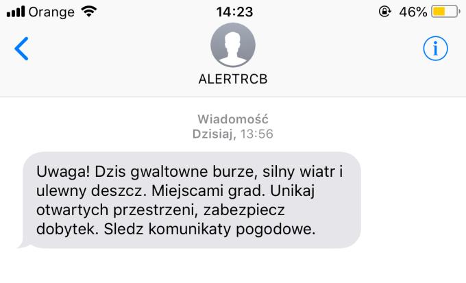 Treść pierwszego SMS-a od ALERTRCB