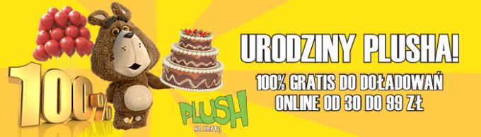 Promocja doładowania 100% więcej z okazji urodzin Plusha