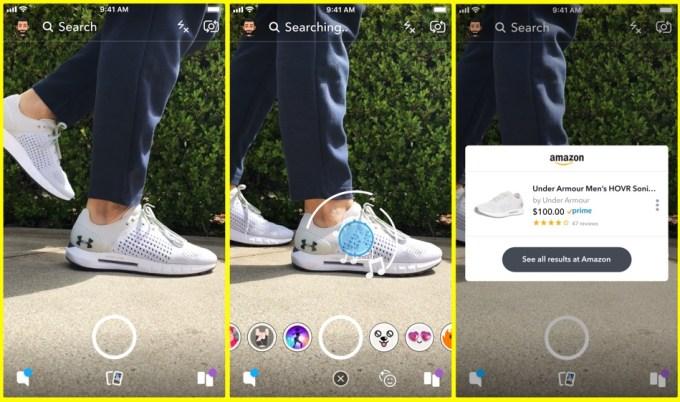 Visual Search w aplikacji Snapchat (zakupy w Amazon)