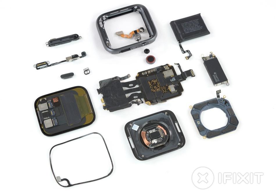 Części zegarka Apple watch Series 4 (fot. iFixit)