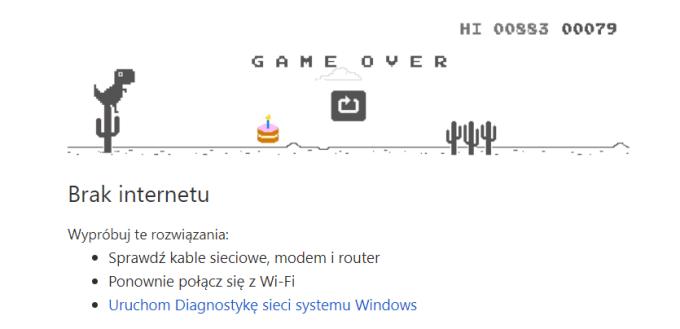 Easter egg w grze z dinozaurem w przeglądarce Chrome z okazji 10-lecia