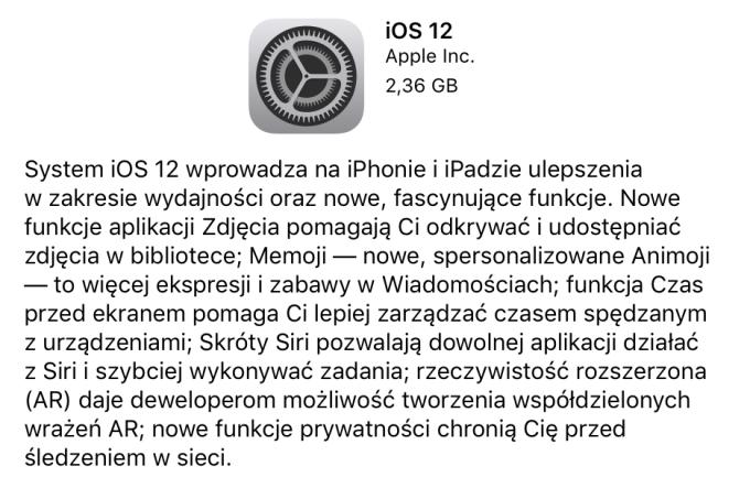 iOS 12 uaktualnienie OTA
