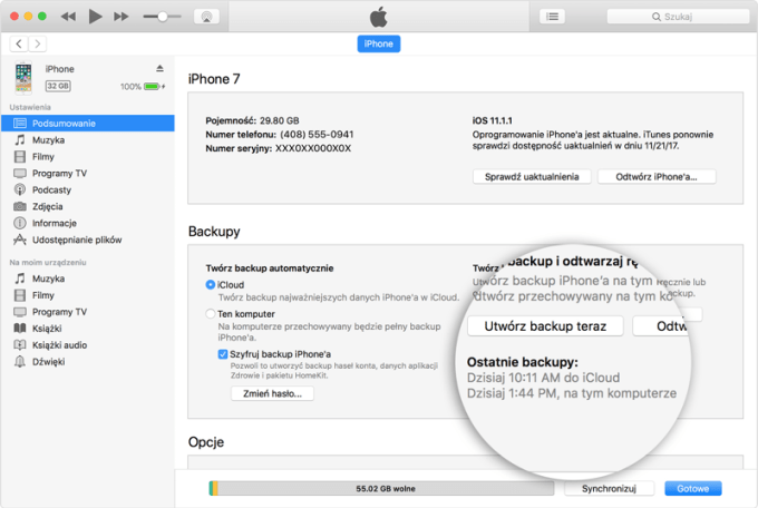 Tworzenie kopii zapasowej iPhone'a na komputerze w programie iTunes 12