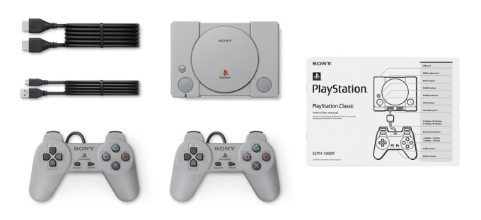 Zawartość opakowania PlayStation Classic (z 3 grudnia 2018)