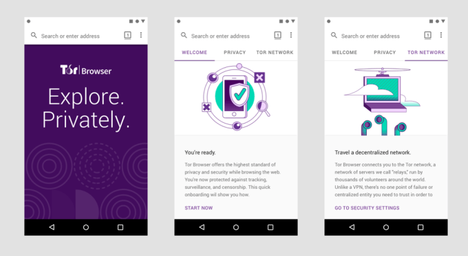 "Screen z aplikacji mobilnej ""Tor Browser for Android"""