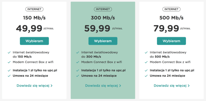 UPC: cennik internetu stacjonarnego (22.09.2018)