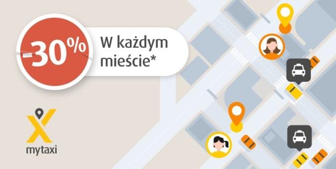 Łap -30% w każdym mieście mytaxi w Polsce!