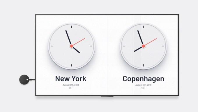 Airtame 2 (zegary świata na monitorze)