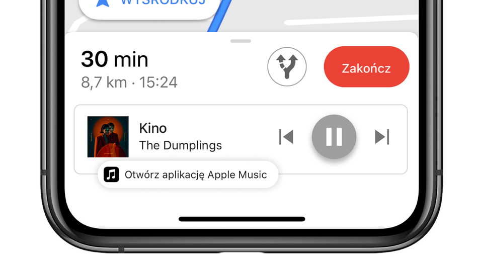 Odtwarzacz Apple Music w Mapach Google'a