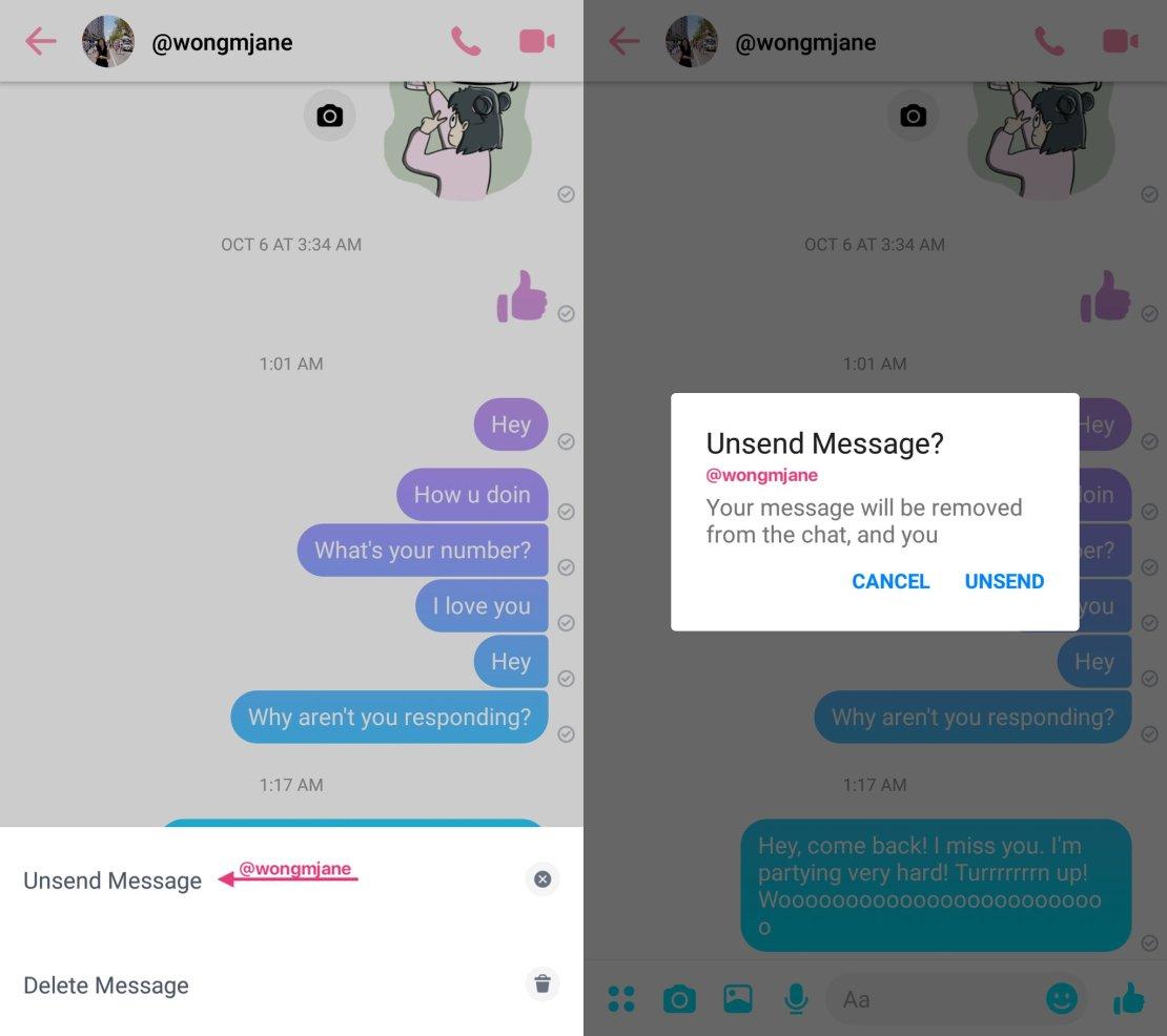 Funkcja cofania wysłanych wiadomości na Facebook Messengerze