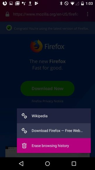 Firefox Focus (Android 9 Pie) - menu kontekstowe
