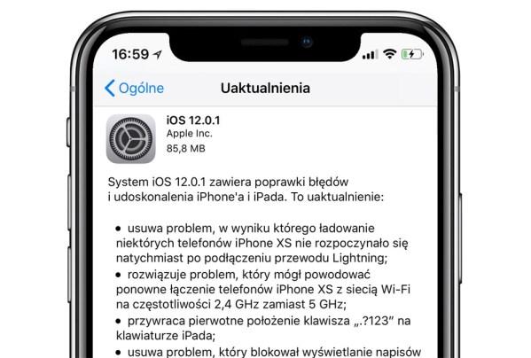 Apple wydało aktualizację systemu iOS 12.0.1