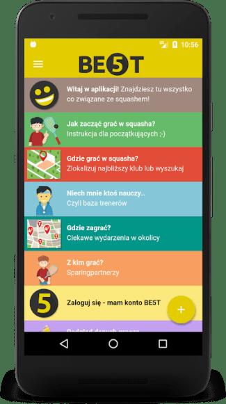 Zrzut ekranu z aplikacji mobilnej Squash apka BE5T