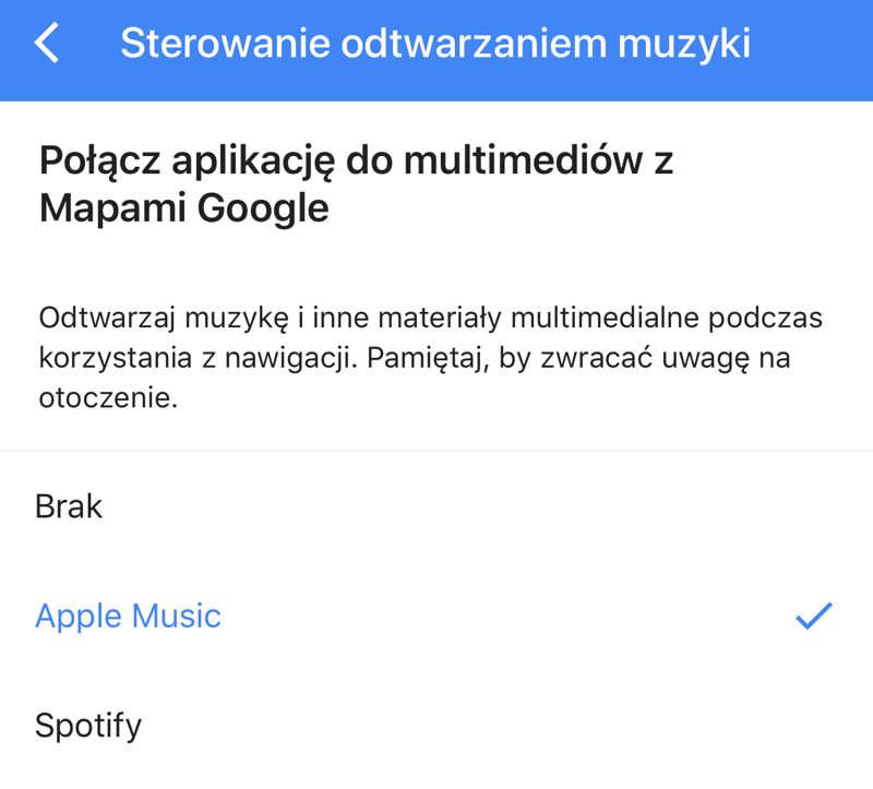 Sterowanie odtwarzaniem muzyki w Mapach Google'a