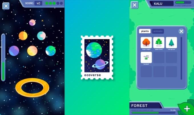 """Zrzuty ekranu z gry mobilnej """"EcoVerse"""""""
