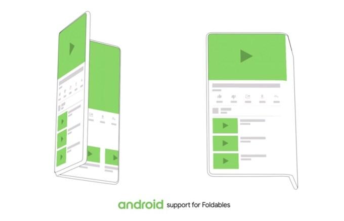 Koncept smartfona (flexfona) z elastycznym składanym ekranem i systemem Android Q