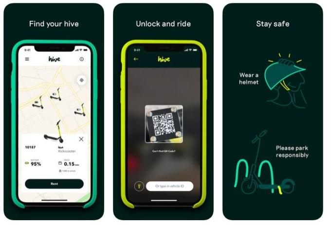 Zrzut ekranu z aplikacji mobilnej Hive Scooters