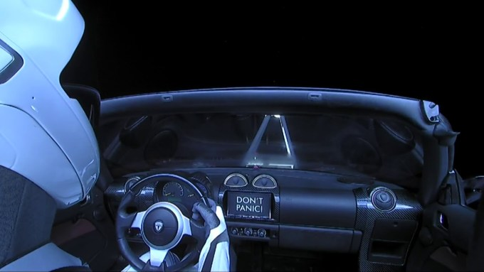 Starman w Tesla Roadster (Don't panic!)