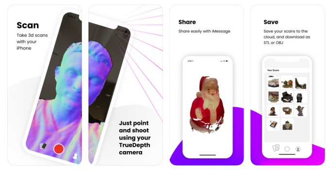 "Screeny z aplikacji mobilnej "" Capture: 3D Scan Anything"""