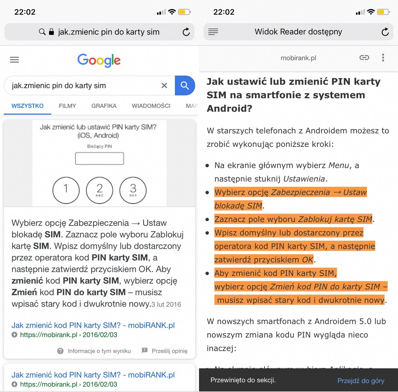 Fragmenty stron AMP z odpowiedziami w wyszukiwarce Google (2)