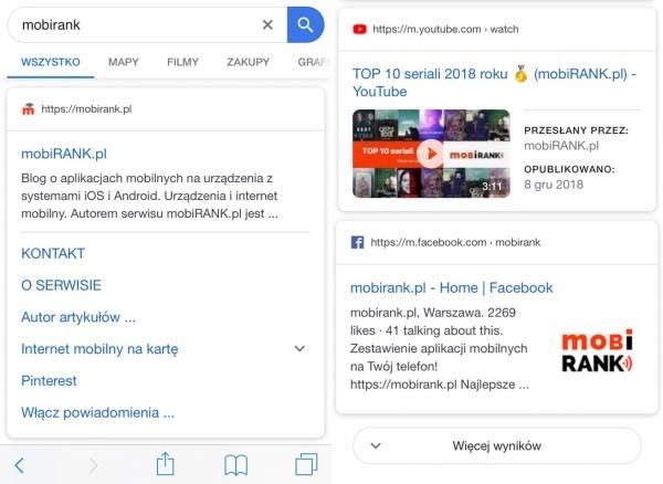 """""""Okrągły"""" wygląd mobilnych wyników wyszukiwania Google"""