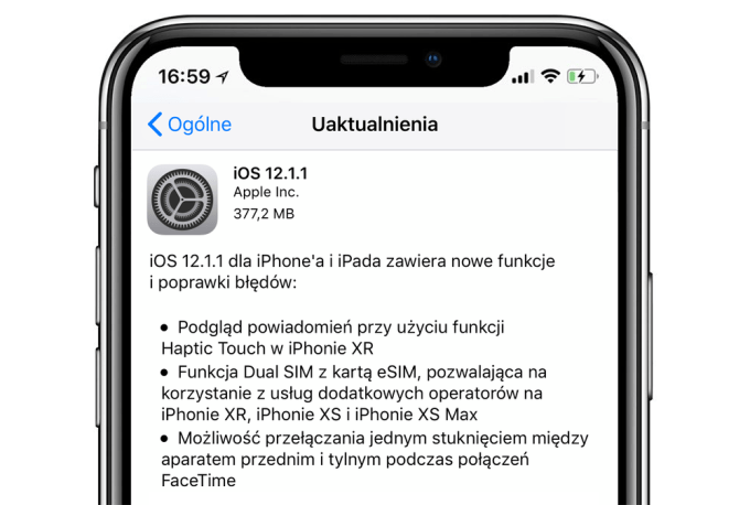 iOS 12.1.1 - update OTA (iPhone screen)