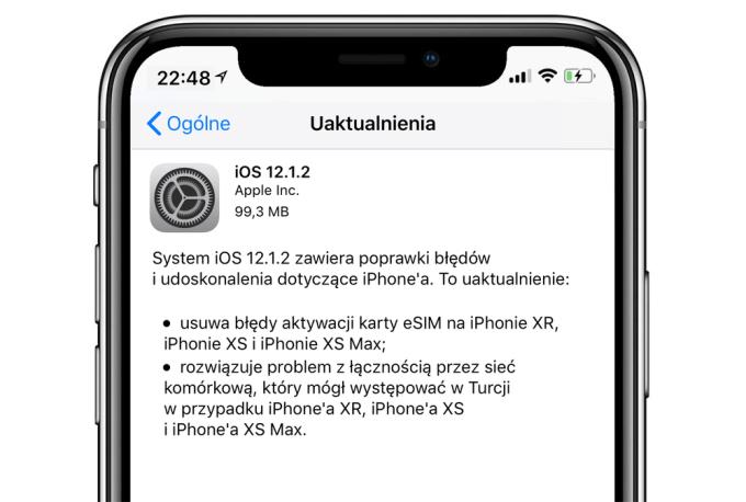 Uaktualnienie iOS 12.1.2