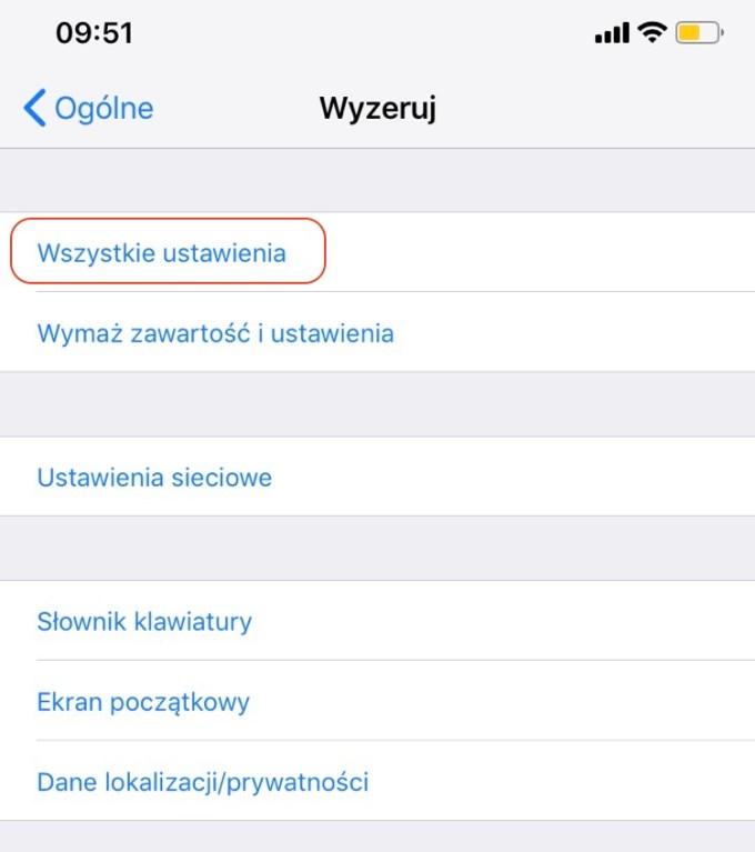 Wyzeruj Wszystkie ustawienia (iOS)