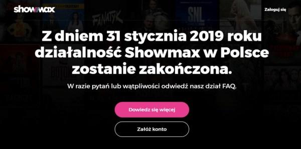 Showmax się zwija z Polski 31 stycznia 2019 r.