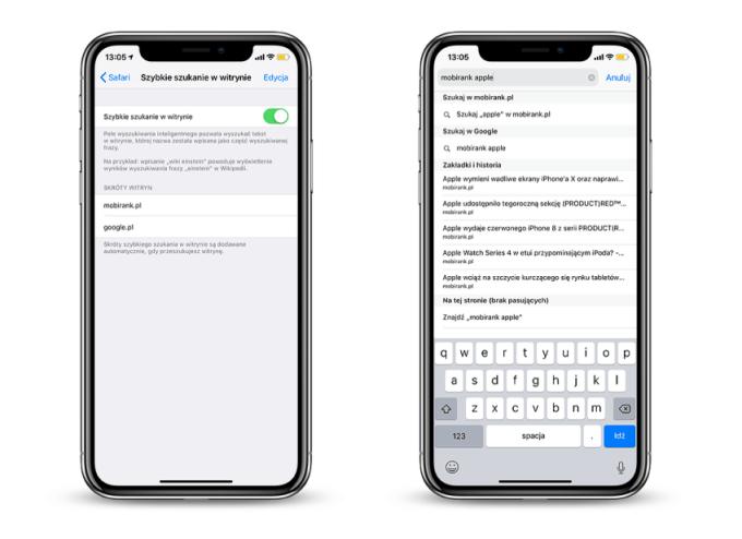 Szybkie szukanie w witrynie w Safari na iOS-a