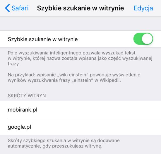 Szybkie szukanie w witrynie (Ustawienia Safari na iOS-a)