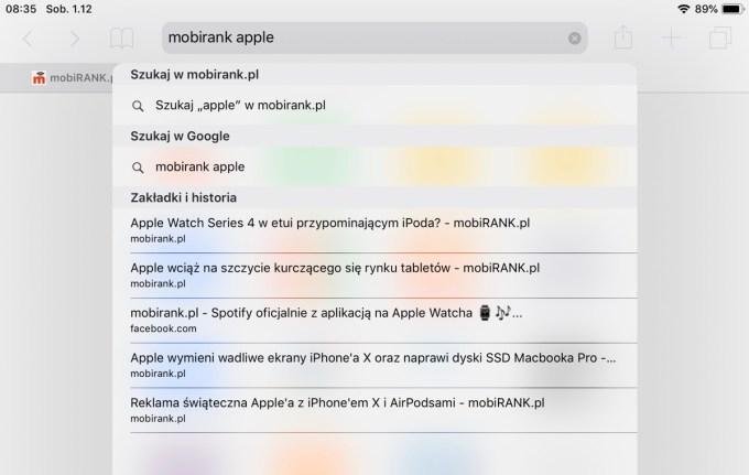 Szybkie wyszukiwanie w witrynie w wyszukiwarce Safari (iOS)