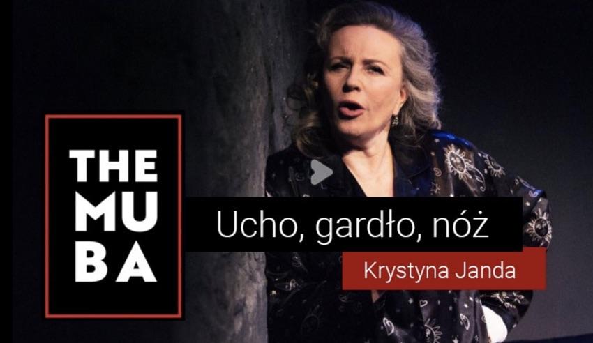 """Krystyna Janda w monodramie """"Ucho, gardło, nóż"""" w TheMuBa i 39 kinach Helios na żywo!"""