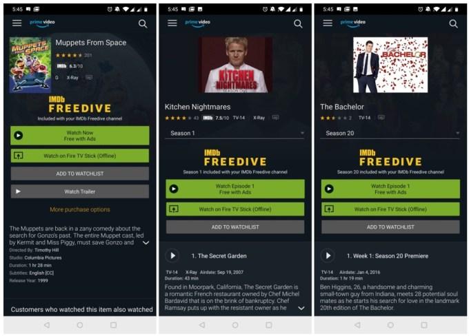 Zrzut ekranu z aplikacji Amazon Prime z filmami IMDb Freedive