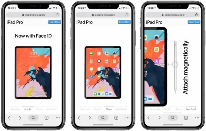 Zrzut ekranu interaktywnej strony mobilnej o iPadzie Pro (2018)