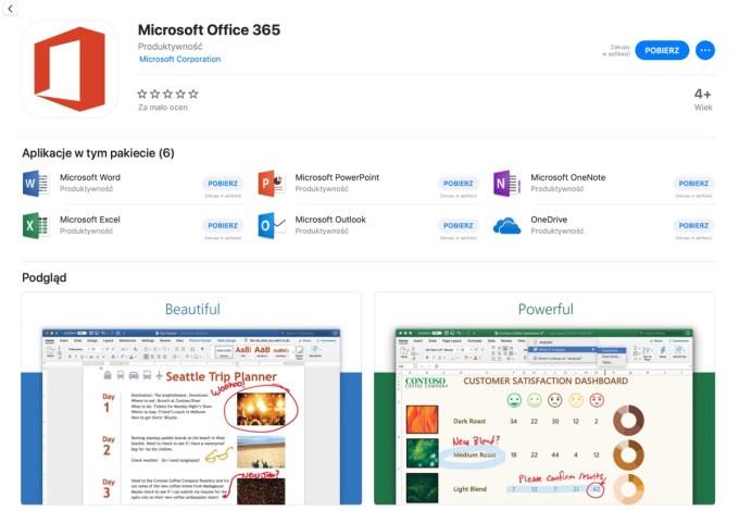 Microsoft Office 365 (zrzut ekranu ze sklepu Mac App Store)