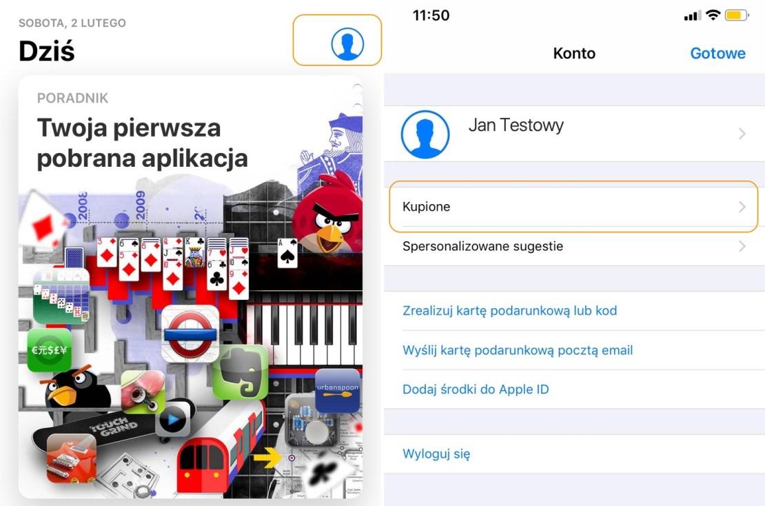 App Store - Kupione aplikacje i gry