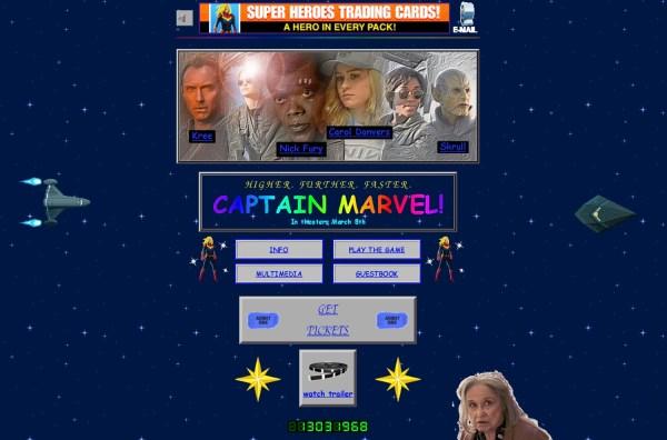 """Stronę filmu """"Captain Marvel"""" przygotowano w stylu lat 90."""
