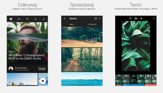 """Zrzuty ekranu z aplikacji """"EyeEm – Photography"""""""