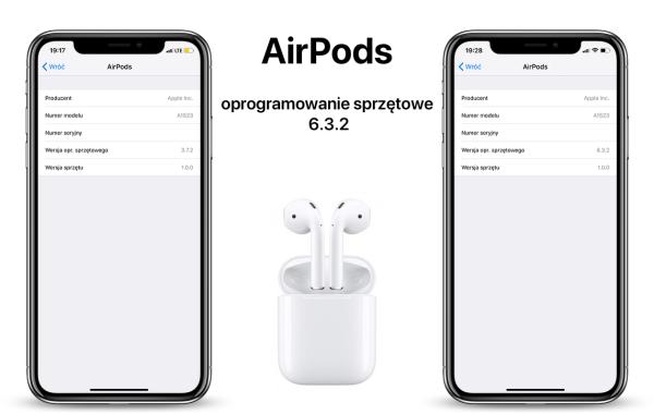 Aktualizacja oprogramowania sprzętowego 6.3.2 dla AirPodsów