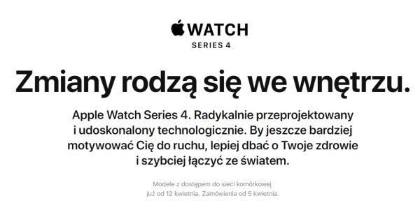 Apple Watch Series 4 w wersji z LTE w Polsce od 12 kwietnia br.