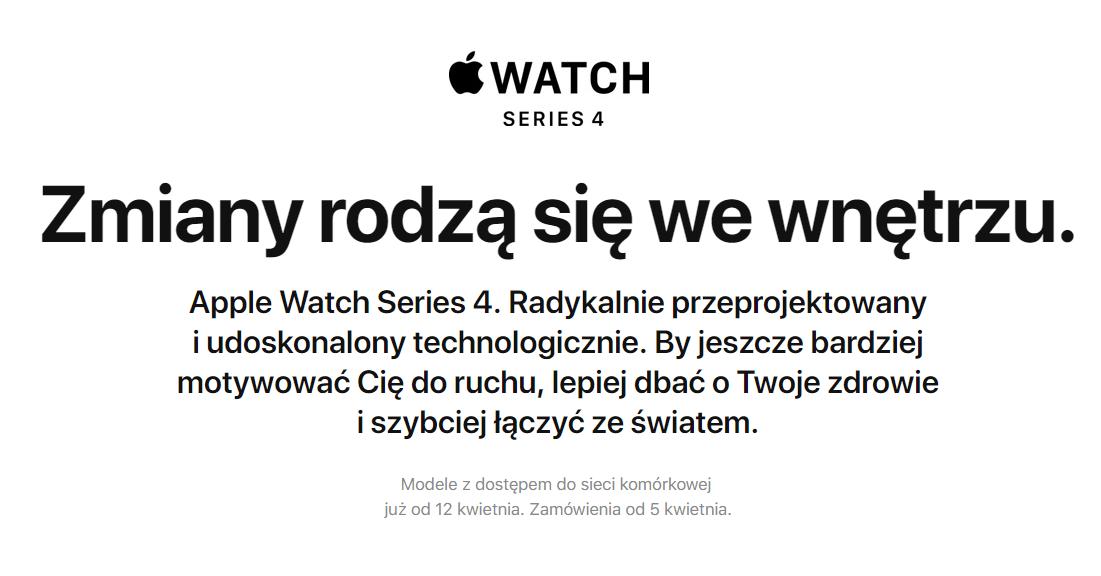 Apple Watch Series 4 LTE w Polsce od 12 kwietnia 2019 r.