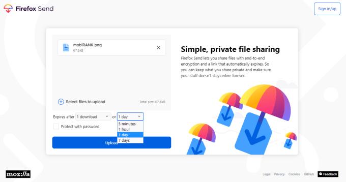 Firefox Send (screen z systemu)
