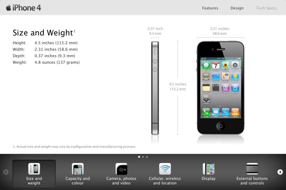 Screen oryginalne strony iPhone'a 4 z 2010 r.