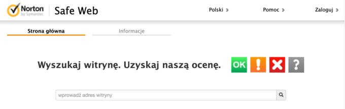 Norton by Symantec Safe Web Checker (screen)
