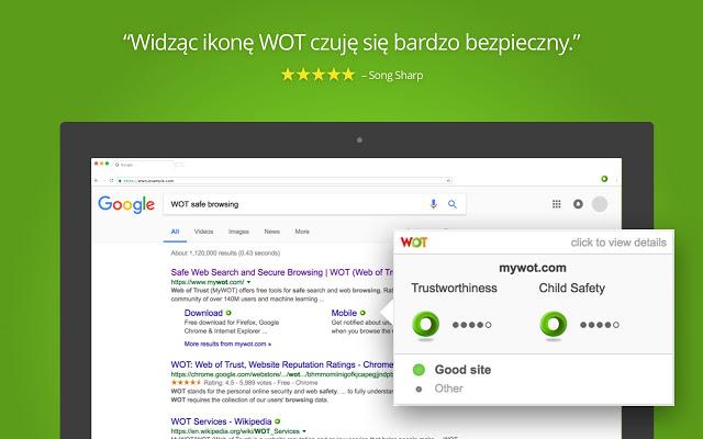 WOT: Web of Trust, oceny reputacji witryn - screen
