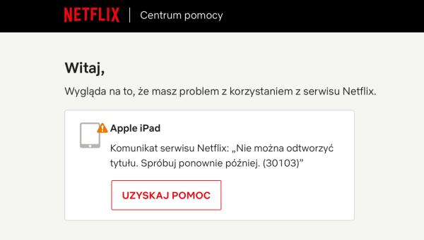 Korzystanie z serwisu Netflix za pomocą AirPlay nie jest już możliwe