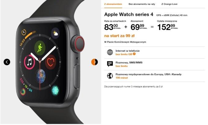 Cena Apple Watch Series 4 - cena w Orange Polska
